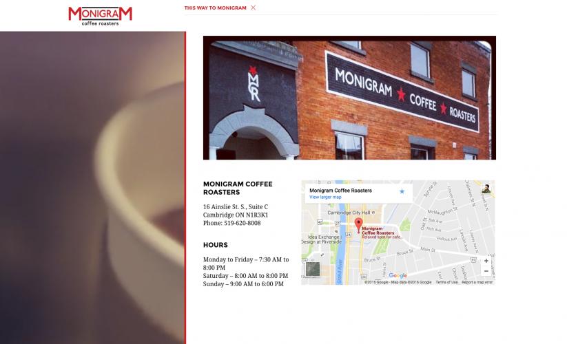 Monigram Coffee Roasters web takeover